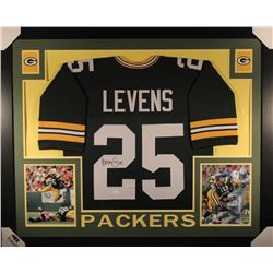 Dorsey Levens Signed Green Bay Packers 35x43 Custom Framed Jersey (JSA COA)