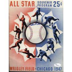 Phil Cavarretta Signed 1947 Chicago Cubs Scorebook (JSA COA)