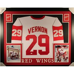 Mike Vernon Signed Detroit Red Wings 35x43 Custom Framed Jersey (JSA COA)