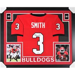 Roquan Smith Signed Georgia Bulldogs 35x43 Custom Framed Jersey (Beckett COA)