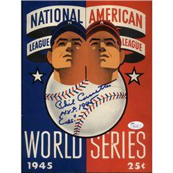 "Phil Cavaretta Signed 1945 World Series Scorebook Inscribed ""M.V.P. 1945 Cubs"" (JSA Hologram)"