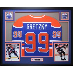 Wayne Gretzky Signed Oilers 35x43 Custom Framed Jersey (Beckett LOA)