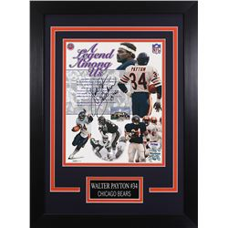 Walter Payton Signed Bears 14x18.5 Custom Framed Photo Display (PSA LOA  Payton Hologram)