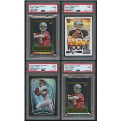 Lot of (4) PSA Graded 9 Derek Carr Rookie Cards with (1) 2014 Bowman Rainbow Black #R55, (1) 2014 Pa