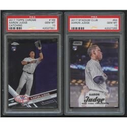 Lot of (2) PSA Graded 10 Aaron Judge Rookie Cards with 2017 Topps Chrome #169A RC  2017 Stadium Club