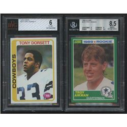 Lot of (2) Beckett Graded Dallas Cowboys Rookie Cards with 1978 Topps #315 Tony Dorsett RC (BVG 6)