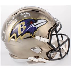 "Ray Lewis Signed Ravens Full-Size Chrome Speed Helmet Inscribed ""HOF '18""  ""SBXXXV MVP"" (Beckett COA"