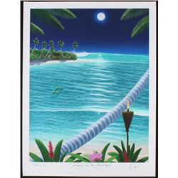 """Dan Mackin - """"Surfing in the Moonlight"""" Signed Limited Edition 19x25 Fine Art Giclee #/275 (Mackin C"""