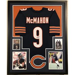 Jim McMahon Signed Chicago Bears 35x43 Custom Framed Jersey (JSA COA)