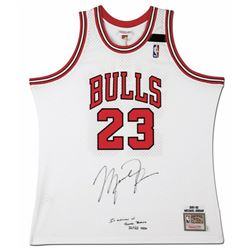 "Michael Jordan Signed 1991-92 Mitchell  Ness Chicago Bulls Jersey Inscribed ""In Memory of Sheri Bert"