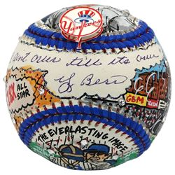 "Yogi Berra Signed New York Yankees Baseball Hand-Painted by Charles Fazzino Inscribed ""It Ain't Over"