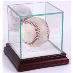 Premium Single Baseball Glass Display Case with White Suede  Cherry Wood Base  Mirrored Back