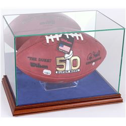 Premium Rectangle Football Display Case with Mirrored Back, Blue Suede  Walnut Wood Base