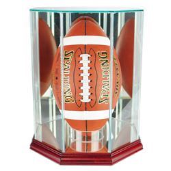 Premium Octagon Upright Football Display Case with Mirrored Back  Cherry Wood Base (New)