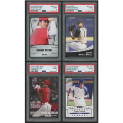 Lot of (4) PSA Graded 9 Shohei Ohtani Baseball Cards with 2018 Leaf Ohtani Draft Silver #DS01, 2018