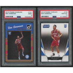 Lot of (2) PSA Graded Ben Simmons Basketball Cards with 2016-17 Donruss #151 RC (PSA 9)  2016-17 Pan