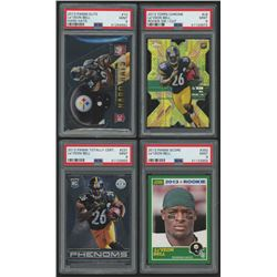 Lot of (4) PSA Graded 9 Le'Veon Bell Rookie Cards with 2013 Elite Rookie Hard Hats #10, 2013 Topps C