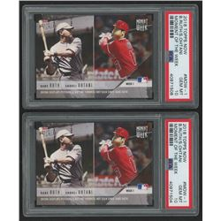 Lot of (2) PSA Graded 10 2018 Topps Now Moment of the Week #MOW1 Babe Ruth / Shohei Ohtani / 17,750*