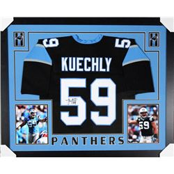 Luke Kuechly Signed Carolina Panthers 35x43 Custom Framed Jersey (JSA COA)