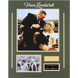Vince Lombardi 16x20 Custom Matted Photo Display with (1) Hand-Written Word From Letter (Beckett LOA