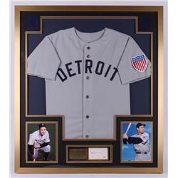 Hank Greenberg Signed Detroit Tigers 32x36 Custom Framed Cut (PSA LOA)