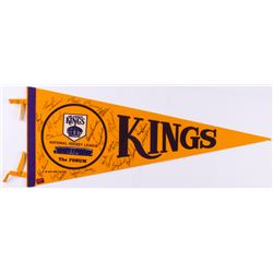 Vintage 1970-72 Los Angeles Kings Pennant Team-Signed by (17) with Juha Widing, Ralph Backstrom, But