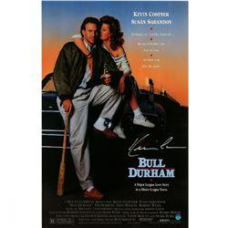 "Kevin Costner Signed ""Bull Durham"" 11x17 Movie Poster Print (Steiner COA)"