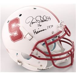 "Jim Plunkett Signed Stanford Cardinal Authentic Full-Size Authentic On-Field Helmet Inscribed ""Heism"