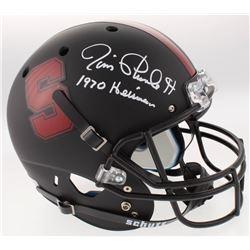 "Jim Plunkett Signed Stanford Cardinal Custom Matte Black Full-Size Helmet Inscribed ""1970 Heisman"" ("