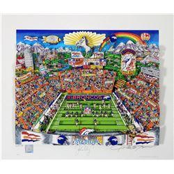 "Charles Fazzino  John Elway Signed Denver Broncos ""Mile High Stadium"" 18x24.5 Limited Edition Print"