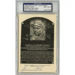 Jimmie Foxx Signed Gold HOF Postcard (PSA Encapsulated - Autograph Graded 8)