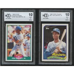Lot of (2) Beckett BCCG Graded 10 Ken Griffey Jr. Baseball Cards with 1989 Score Rookie / Traded #10