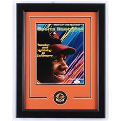Frank Robinson Signed Baltimore Orioles 14x18 Custom Framed Photo Display with Pin (JSA COA)