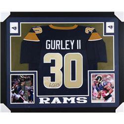Todd Gurley Signed Los Angeles Rams 35x43 Custom Framed Jersey (PSA COA)