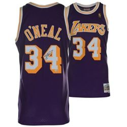 Shaquille O'Neal Signed Mitchell  Ness 1996-97 Purple Los Angeles Lakers Jersey (Fanatics Hologram)