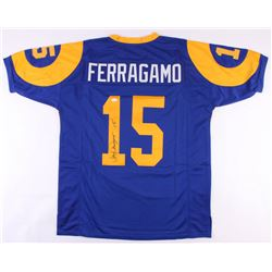 Vince Ferragamo Signed Los Angeles Rams Throwback Jersey (JSA COA)