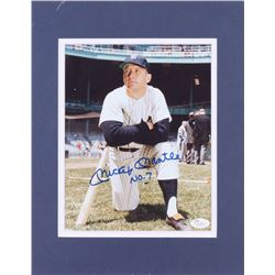 """Mickey Mantle Signed New York Yankees 11x14 Custom Matted Photo Display Inscribed """"No. 7"""" (JSA LOA)"""