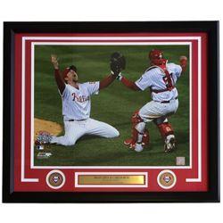Brad Lidge  Carlos Ruiz Philadelphia Phillies 2008 World Series 22x27 Custom Framed Photo Display