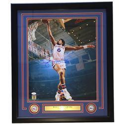 """Julius """"Dr. J"""" Erving Signed Philadelphia 76ers 22x27 Custom Framed Matted Photo Display (JSA COA)"""