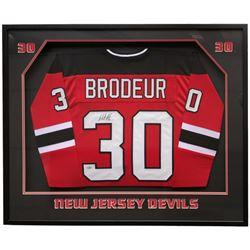 Martin Brodeur Signed New Jersey Devils 34x41 Custom Framed Jersey (Steiner COA)