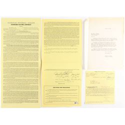 Lot of (2) Paul Krause Signed Washington Redskins Player Contracts (Beckett Hologram)