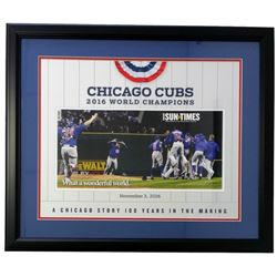 Chicago Cubs 2016 World Series Champions Sun Times 22x27 Custom Framed Poster Display