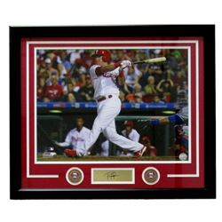Rhys Hoskins Philadelphia Phillies 22x27 Custom Framed Photo with Laser Engraved Signature
