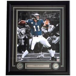 Carson Wentz Signed Eagles 22x27 Custom Framed Photo Display (Fanatics)