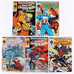"""Lot of (5) 1989  1990 """"The Amazing Spider-Man"""" Marvel Comic Books"""