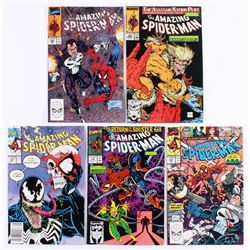 """Lot of (5) 1989-1991 """"The Amazing Spider-Man"""" Marvel Comic Books"""