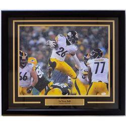 Le'Veon Bell Signed Pittsburgh Steelers 22x27 Custom Framed Photo Display (JSA COA)
