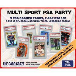 """The Card Craze """"PSA Party"""" Premium Multi-Sport Mystery Box (5 Hits Per Box)"""