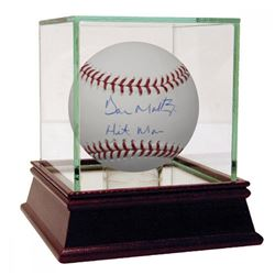 """Don Mattingly Signed Baseball Inscribed """"Hit Man"""" with High Quality Display Case (Steiner COA)"""