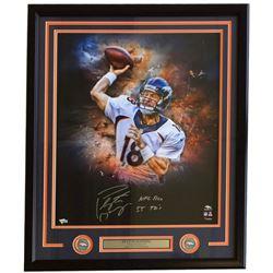 """Peyton Manning Signed Denver Broncos 26x33 Custom Framed Photo Display Inscribed """"NFL Rec 55 TDs"""" (F"""